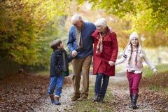 Morföräldrar med barnbarn som promenerar Autumn Path arkivfoto