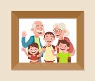 Morföräldrar med fotoramen för tre barnbarn royaltyfri illustrationer