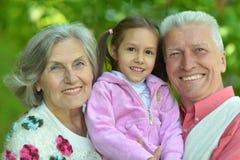 Morföräldrar med sondottern Arkivbild