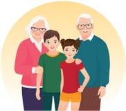 Morföräldrar och deras barnbarn Fotografering för Bildbyråer