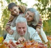 Morföräldrar och sonson Arkivbild