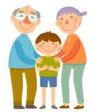 Morföräldrar och sonson stock illustrationer