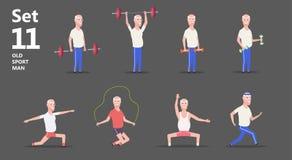 Morfar eller äldre man på övning och sportar royaltyfri illustrationer