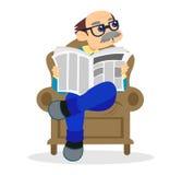 Morfar i läs- tidning för stol stock illustrationer