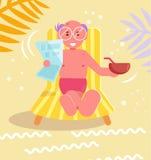 Morfar på strandvektorn cartoon Isolerad konst plant royaltyfri illustrationer