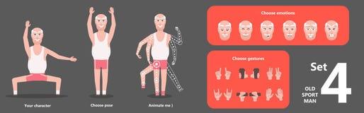 Morfar som gör morgonövningar Aktiv sund genomkörare stock illustrationer