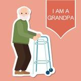 Morfar som står full längd med att le för skovelfotgängare stock illustrationer