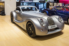 2015 Morgan Aero 8. Geneva, Switzerland - March 4, 2015: 2015 Morgan Aero 8 presented on the 85th International Geneva Motor Show Stock Photo