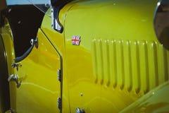 Morgan classic car. Retro racing green british handbuilt old stock photos