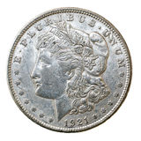 Morgan Dollar 1921 Arkivfoto