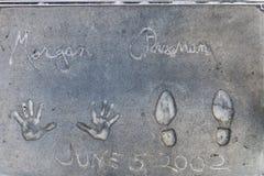 Morgan Freeman Handprints y huellas imagen de archivo