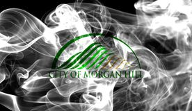 Morgan Hill city smoke flag, California State, United States Of. America Royalty Free Stock Images