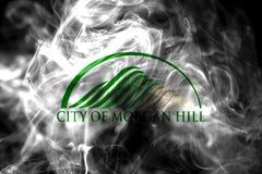 Morgan Hill city smoke flag, California State, United States Of. America royalty free stock photo