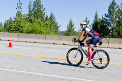 Morgan Krajewski in the Coeur d' Alene Ironman cycling event Stock Photo