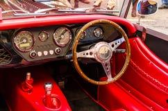 Morgan. LONDON - November 01 : Regent street motor show - Morgan car interior. covered with red leather. 1st November 2014 LONDON.UK stock image