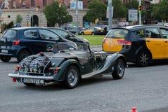 Morgan motorowy samochód Aero 8 przy Barcelona wieczór ulicą obrazy royalty free