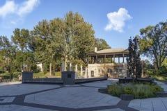 Morgan park (Montreal). Public refreshing fountain Morgan park in Montreal, Quebec, Canada royalty free stock image