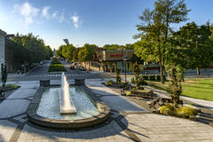 Morgan park (Montreal). Public refreshing fountain Morgan park in Montreal, Quebec, Canada royalty free stock photos