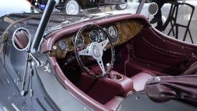 Morgan Plus 8 new classic sports car luxury interior stock video footage