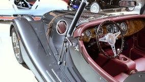 Morgan Plus 8 new classic sports car luxury interior stock video