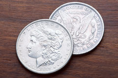 Morgan Silver Dollar. 1889 USA Morgan Silver Dollar with a classic head of Liberty Royalty Free Stock Photo