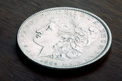 Morgan Silver Dollar. 1889 USA Morgan Silver Dollar with a classic head of Liberty Stock Images