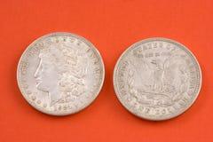 Morgan silver dollar. Closeup of a 1921 Morgan silver US dollar stock photography