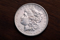 Morgan Silver Dollar. 1889 USA Morgan Silver Dollar with a classic head of Liberty Stock Photography