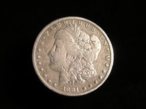 Morgan Silver Dollar Coin Stock Fotografie
