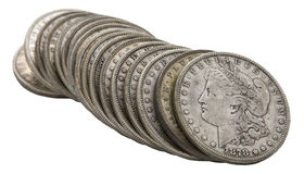 Morgan silver dollars 1878 grungy roll isolated white Stock Images