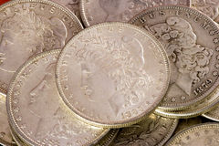 Morgan silver dollars Royalty Free Stock Images
