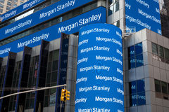 Morgan Stanley auf Times Square Stockfoto