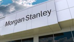 Morgan Stanley Inc. logo on the modern building facade. Editorial 3D rendering. Morgan Stanley Inc. logo on the modern building facade. Editorial 3D stock video footage