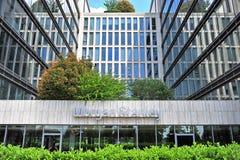 Morgan Stanley-Zeichen auf Fassade eines Bürogebäudes Stockfotografie
