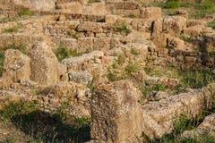 Morgantina,西西里岛海岛古城的废墟 库存照片