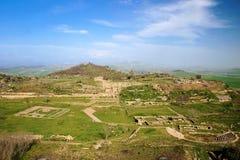 Morgantina, Sicilia. Vista del sitio arqueológico Imágenes de archivo libres de regalías