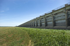 Morganza Spillway Flood Control Structure. Gated flood control structure designed to divert flow from the Mississippi River in flood conditions, shown during a Stock Photography