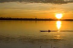 Morgen auf dem Mekong Rive Stockbild