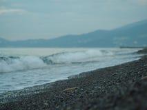 Morgen bewegt Liebkosung der Strand wellenartig lizenzfreie stockbilder
