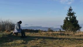 Morgen an der Spitze zwei Länder - Wielka Racza stockbilder
