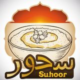 Morgen-Frühstück mit Hummus oder Suhoor, der während Ramadans, Vektor-Illustration vor-fastet lizenzfreie abbildung
