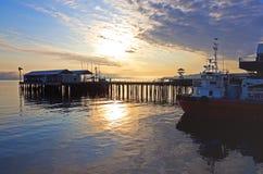 Morgen am Hafen Stockfoto