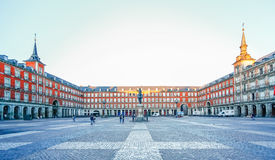 Morgen-Licht an Piazza-Bürgermeister in Madrid, Spanien Lizenzfreie Stockfotografie