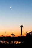 Morgen mit einem Mond lizenzfreies stockfoto