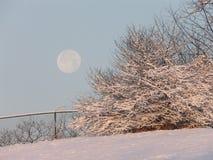Morgen-Mond und Schnee Lizenzfreie Stockfotos