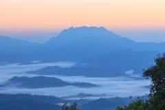 Morgen-Nebel und Nebel, die sich langsam vom Standpunkt im Sonnenaufgang am hohen Berg in Chiangmai, Thailand bewegen Lizenzfreie Stockbilder