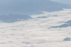 Morgen-Nebel und Nebel, die sich langsam vom Standpunkt im Sonnenaufgang am hohen Berg in Chiangmai, Thailand bewegen Stockbild