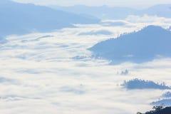 Morgen-Nebel und Nebel, die sich langsam vom Standpunkt im Sonnenaufgang am hohen Berg in Chiangmai, Thailand bewegen Lizenzfreies Stockfoto