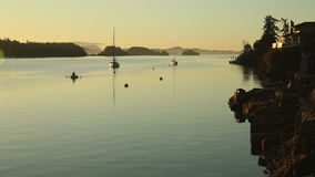 Morgen-Schlauchboot, Salz-Frühlings-Insel, BC stock footage