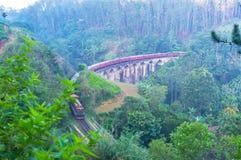 Morgen-Zug auf der neun Bogen-Brücke in Ella lizenzfreie stockfotografie